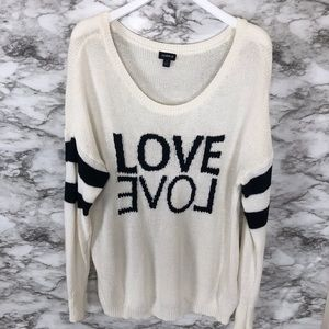Torrid Cream Love Sweater Size 1x